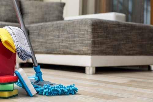 Doing house cleaning work