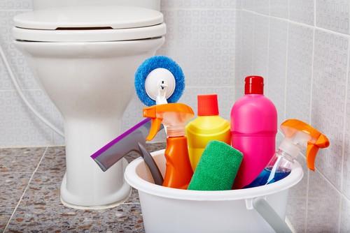 Office toilet cleaning in progress